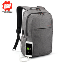 2017 Tigernu Men's Backpack Bag External USB Charge Brand 14.1Inch Laptop Notebook Backpack Women Waterproof backpack Back Pack