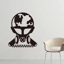 Air Pollution Environmental Protection Scientist Gas Mask Silhouette Pattern Silhouette Wall Sticker Wallpaper for Room Decal(China)