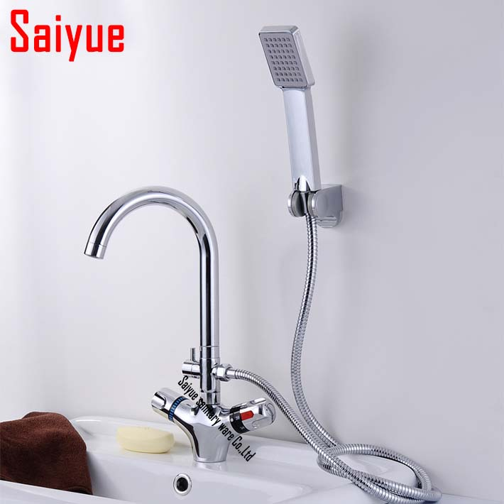 luxury deck mounted thermostatic bath basin sink faucet  mixer tap, thermostatic valve + hand shower ,dual holder single hole <br><br>Aliexpress