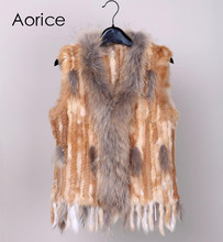 18 colors  Women Genuine Knitted Rabbit Fur Vests  with tassels Raccoon  Fur Trimming Waistcoat wholesale drop shipping