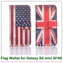 Retro Flags UK USA Australia Pattern Leather Wallet Style Back Skin Covers Case for Samsung Galaxy S4 mini i9190 Free Shipping