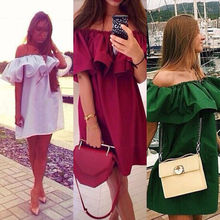 Ladies Apparel Ruffles slash neck women dress Summer style off shoulder sexy dresses vestidos White tube beach dress cotton