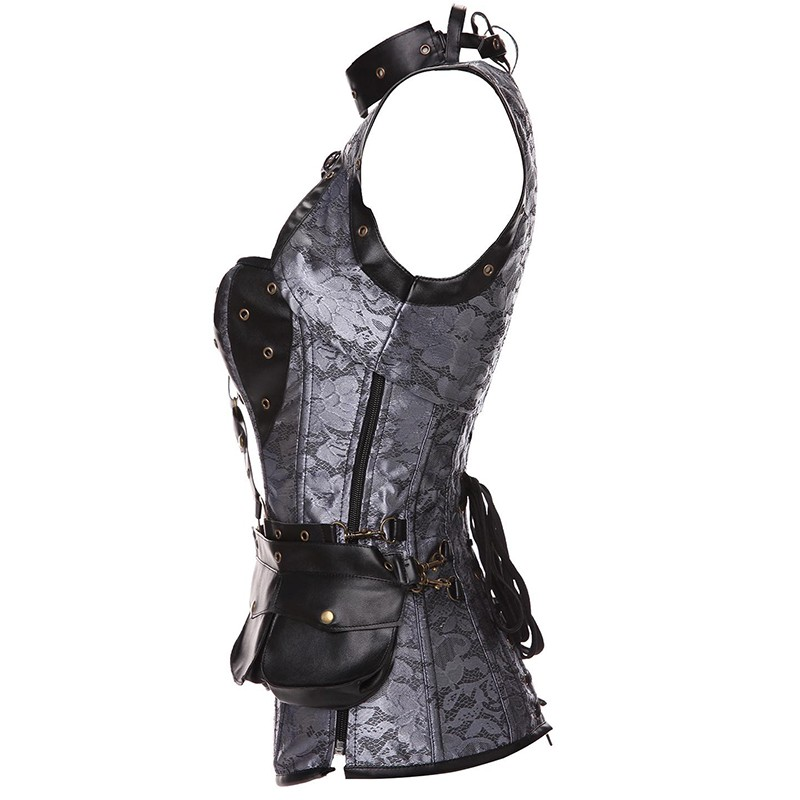 Plus Size 6XL Punk Corset Faux Leather Steel Boned Gothic Clothing Waist Trainer Basque Steampunk Corselet Cosplay Outfits Brown (6)