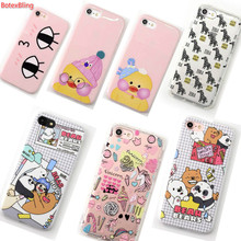 BotexBling cute Eyes cartoon bear zebra soft TPU Silicone case for iphone 7 7plus 8 8plus 6 6s plus 6plus couple case girl cover(China)