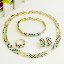 New Year Gifts! TOP Quality Green Enamel Snake Skin Pattern Italy Gold Jewelry Sets Necklace&Earrings&Ring&Bracelet Set(China)