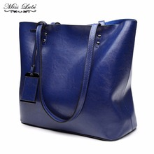 Buy 1 Get 1 at 50% Off Miss Lulu Women Designer Luxury Shoulder Handbags Female Famous Fashion Big Bags Leather Navy Tote E6710(China)