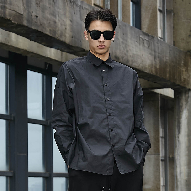 Men High Street Fashion Punk Hip Hop Long Sleeve Loose Casual Shirts Male Japan Style Dress Shirt Jacket Stage Show Costumes