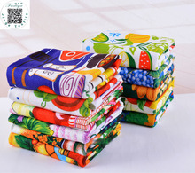 Free shipping Hot sale 5pcs/lot Microfiber absorbent kitchen towel,dish cleaning cloth,Colorful Printed tea towels cooking tools(China)