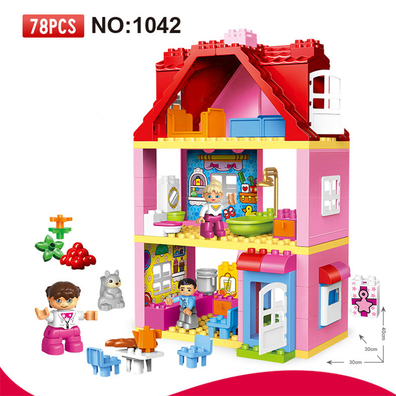 78 PCS Large Size Pink villa Girls Big Building Blocks set Kids DIY Bricks Model Toys for Children Compatible 10505 Duploe<br>