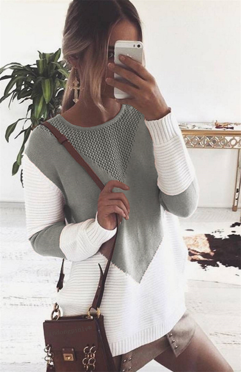 Autumn Patchwork Sweater, Women's Sweater, Pullover, Loose Jumper Hollow Out Split Sweater 6