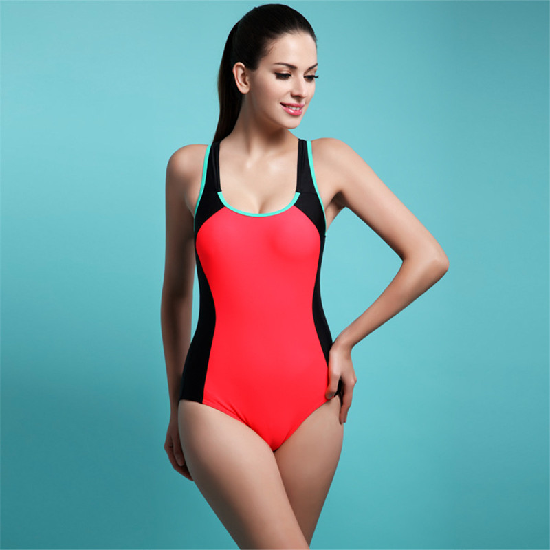Triangle swimwear women bathing suits one piece sports professional training swimming suit female plus size swimsuit backless<br>