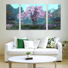 art prints painting beautiful scenery Pink tree canvas Modular nordic pictures triptych home artwork posters and prints wall