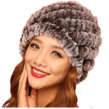 15 colors New Style Genuine Knitted Rex Rabbit Fur Hat Natural Rabbit Fur Caps Fashion Women Beanies Headgear Various Colors