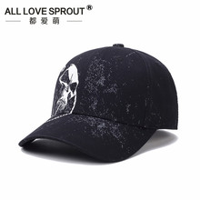 2018 new black cotton Korean men's baseball cap casual printed embroidery adjustable baseball cap(China)