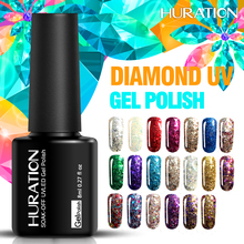 Huration 2017 Newest LED Lamp Varnish Gel Lacquer Soak off Diamond Sparkling Gel Polish Colorful 8ml Glitter Nail Gel Polish(China)