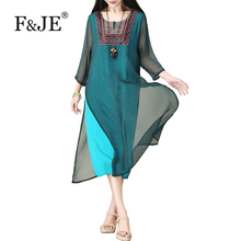 F&JE 2017 New Summer Arts Style Vintage Elegant Women Casual Long Dress Top quality Silk cotton linen Embroidery Dress J883