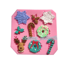 1pcs Snow Flake Candy Cane Reindeer Xmas Holly Leaf silicone fondant cake molds soap chocolate kitchen baking clay mould