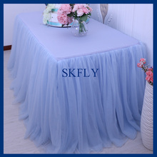 SK005G SKFLY standard 6ft rectangle banquet elegant puffy tutu wedding light blue tulle table skirt(China)