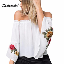 Summer office blouses Off Shoulder 2017 Blusas Floral Embroidery Shirt sexy slash neck Tops Flare Sleeve Party Club Shirts Blusa
