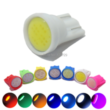 100pcs Car Auto LED  T10 cob 194 W5W 1 led smd cob 6 chips  Wedge Light Bulb Lamp white blue yellow red green