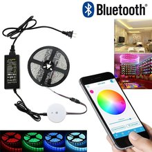 DIY Smart Bluetooth RGB APP led controller+5M RGB LED Strip Light set+12V 5A Power adapter For iPhone, Android, phone control(China)