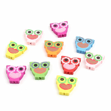 Wood Beads Spacer 10Pcs Cat Mix Color for DIY Baby Crafts Kids Toys & Pacifier Clip Wooden Beads