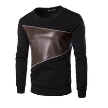 Autumn Men's Leisure Active PU Stitching Round Neck Sweatshirt Hip Hop Active Long Sleeve Loose Hoodies Big Yard Men  Fleece Top