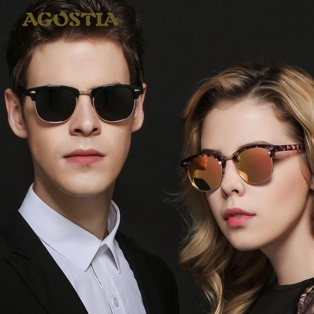 Hot Polarized Club master Sunglasses Women Men Brand Designer Rivet Semi-Rimless Retro Rayed Sun Glasses Oculos De Sol Feminino<br><br>Aliexpress