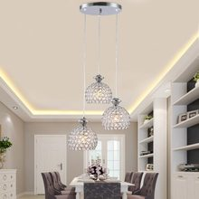Modern Crystal Pendant Light Fixtures Restaurant Kitchen Dining Room Hanging Lamp Chrome Iron E27 220V For Decor Home