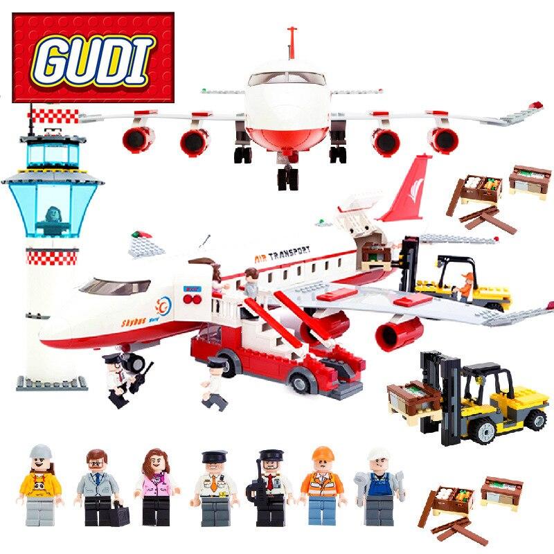 GUDI 8913 City Passenger Airplane Building Blocks 856pcs Kids DIY Bricks Toys for Children Birthday Gift Toy Brinquedos<br>