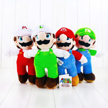 High Quality 4Styles 25cm Super Mario Bros Stand White Hat Mario Luigi Soft Stuffed Plush Toys For Kids(China)