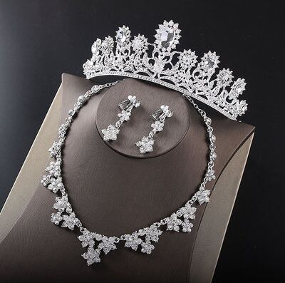 2017 New Silver Crystal Necklace Earrings for Women Wedding Jewelry Sets Whit K Plated Bridal Jewelry Sets With Tiaras & Crowns (10)