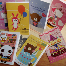 2017 New Cartoon Cute Animal Cards Greeting / Invite Cards Greeting Card Christmas Gifts Postcard For Birthday Party(China)