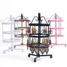 New 72 Holes Metal Earring Display Earring &slide Bead Turnable Necklace Jewelry Display Rack Stand Holder Shelf(China)