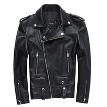 Factory 2017 New Men Motorcycle Leather Jacket 100% Genuine Sheepskin Punk Oblique zipper Bomber Biker Men Leather Jackets S-4XL