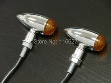 Wholesale Chrome AMBER BULLET TURN SIGNALS for Harley XL Honda Kawasaki Suzuki Yamaha Cruiser Cafe Racer Bobber Big DOG