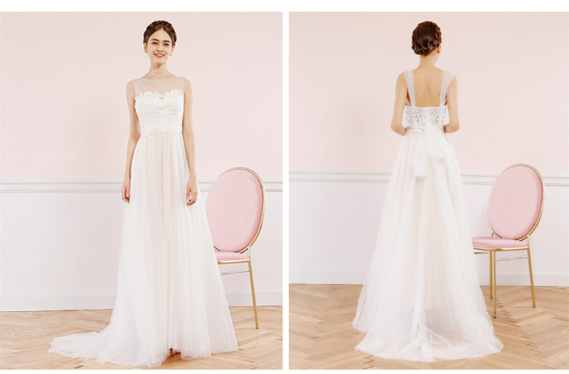 SOCCI Weekend Sexy Beach Wedding Dress 2017 Boat Neck Lace Tulle Bridal Gowns Formal Party Dresses Vestido de noite 14
