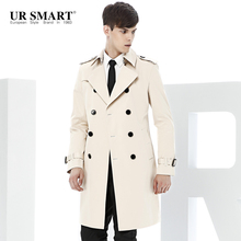 Paragraph dust coat grows URSMART double-breasted paragraph dust coat grows rice white men long trench coat male British fashion(China)
