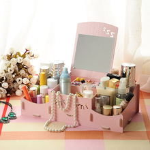 Manufacturer find show Seoul 17 smiling face wooden box DIY desktop with a mirror cosmetics storage box