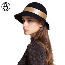 FS Classic Felt Cloche Hat Black Winter Women Australia Wool Fedoras Wide Brim Fedora Elegant Ladies Church Hats Vintage Style(China)