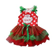 Santa Claus Polka Dots Girls Red Christmas Dress Lace Tutus Girls Party Dresses Summer 2017 Kids Clothes Toddler Girl Clothing