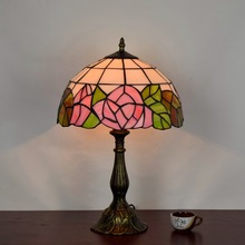 European rose bedroom bedside retro desk lamp Tiffany art Stained glass hotel shop restaurant American style rose table lamp e27