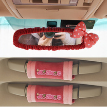 2017 autumn plush car interior accessories/ bow knot car mirror cover handle cover /3 pcs/lot automotive auto styling MOC-C01(China)