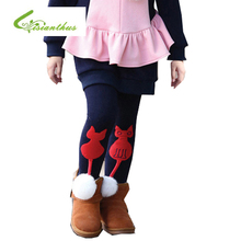 2018 Girl Kids Winter Pants Thickening Girls Leggings Cartoon Cat monkey Lovely Warm Girls' Trousers Cotton Children's Clothing(China)