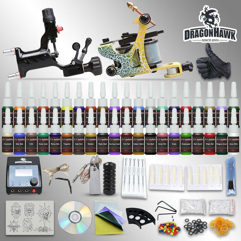 Tattoo starter rotary machine kits 2 equipment 54 inks set power supply needles grips tips<br>