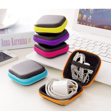 5 Colors Mini Zipper Hard Headphone Case,PU Leather Earphone Bag,Protective Usb Cable Organizer,Portable Earbuds Pouch box