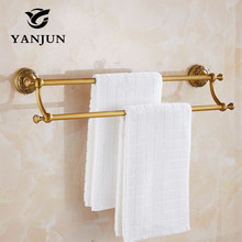 YANJUN Antique Brass Double Towel Bars  60CM Bathroom Accessories Christmas Decorations For Home YJ-7959