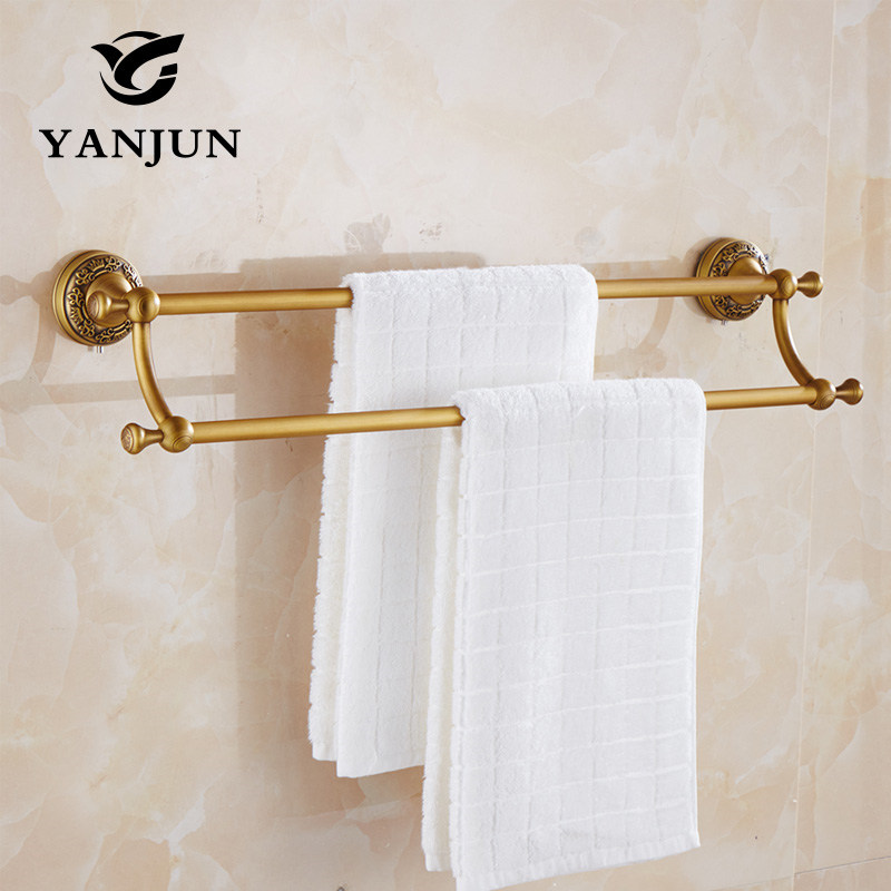 YANJUN Antique Brass Double Towel Bars  60CM Bathroom Accessories Christmas Decorations For Home YJ-7959<br>
