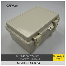 4 pieces a lot, ip65 plastic hinge enclosure 240x170x110mm outdoor plastic waterproof electrical enclosure