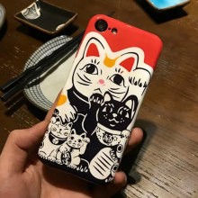 i7 Coque Lucky Cat Phone Back Shell For iPhone 8 7 6 6s Cover Luxury Brand Design Case For iPhone 8 7 Plus 6s plus Para Capa